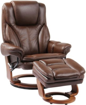Benchmaster Hana Brown Leather Recliner & Ottoman