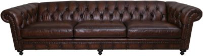 Bernhardt London Club 116-Inch Leather Chesterfield Sofa
