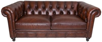 Bernhardt London Club 100% Leather Chesterfield Loveseat