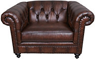 Bernhardt London Club 100% Leather Chesterfield Chair & 1/2