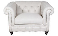 Bernhardt White London Club Chesterfield Chair & 1/2
