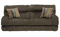 Catnapper Siesta Brown Reclining Lay-Flat Sofa