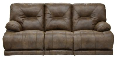 Catnapper Voyager Brown Triple Recline Lay-Flat Sofa