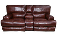 Catnapper Wembley Leather Power Loveseat with Console