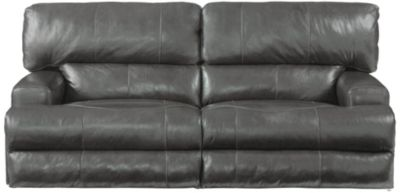 Catnapper Wembley Gray Leather Power Lay-Flat Sofa