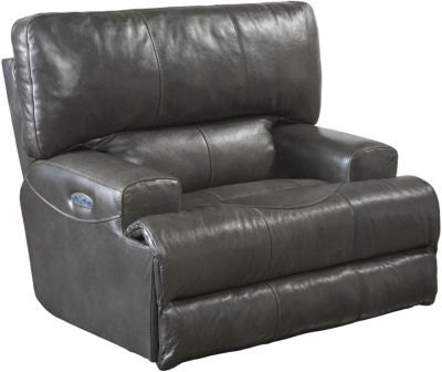 Catnapper Wembley Gray Leather Power Lay Flat Recliner