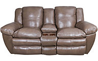 Catnapper Aria Leather Lay-Flat Loveseat with Console