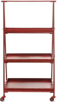 Creative Co-Op reative Co-Op Red 3-Tier Etagere Bookcase with Cas