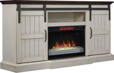 Classic Flame/Tresanti Hogan Barn Door Fireplace with Glass Firebox