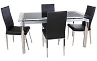 Chintaly Tara Black Glass Table & 4 Jamila Chairs