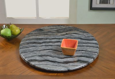 Chintaly Gray Marble Lazy Susan