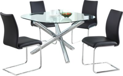 Chintaly Leatrice Glass Table & 4 Chairs