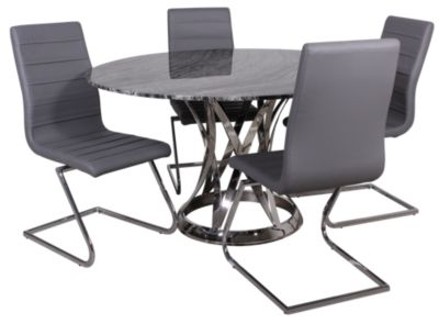 Chintaly Janet 5-Piece Gray Marble Dining Set