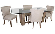 C.M.I. Simplicity Glass Table & 4 Parson Chairs
