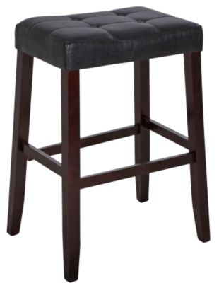 Crown Mark Kent Black Vinyl Bar Stool