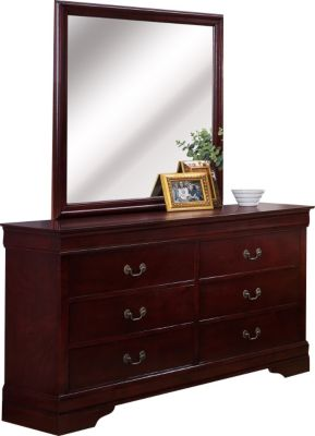 Crown Mark Louis Philippe Cherry Dresser with Mirror