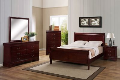 Crown Mark Louis Philippe Cherry 4-Piece Queen Bedroom Set