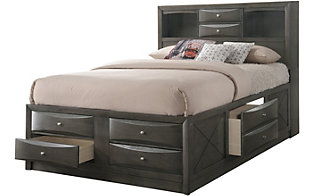 Crown Mark Emily Gray Queen Storage Bed