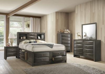 Crown Mark Emily Gray 4-Piece Queen Bedroom Set