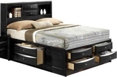 Crown Mark Emily Black Queen Storage Bed