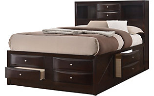 Crown Mark Emily Brown Queen Storage Bed
