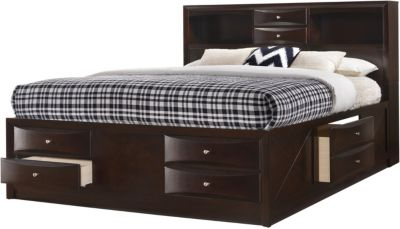 Crown Mark Emily Brown King Storage Bed