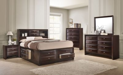 Crown Mark Emily Brown 4-Piece King Bedroom Set