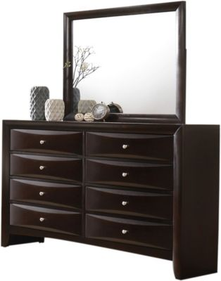 Crown Mark Emily Brown Dresser With Miror