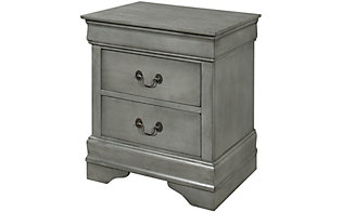 Crown Mark Louis Philippe Gray Nightstand