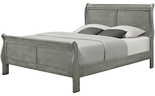 Crown Mark Louis Philippe Gray Queen Bed