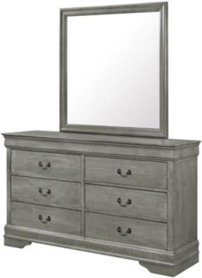Crown Mark Louis Philippe Gray Dresser with Mirror