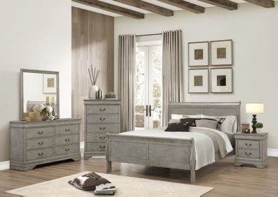 Crown Mark Louis Philippe Gray 4-Piece King Bedroom Set