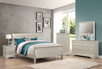 Crown Mark Louis Philippe Champagne 4-Piece King Bedroom Set