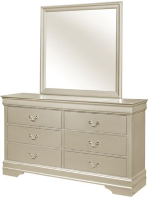 Crown Mark Louis Philippe Champagne Dresser with Miror