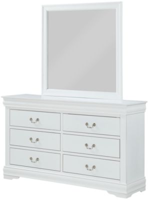 Crown Mark Louis Philippe White Dresser with Mirror