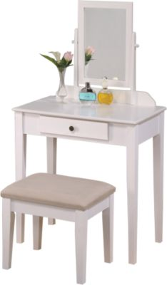 Crown Mark Iris White Vanity with Bench