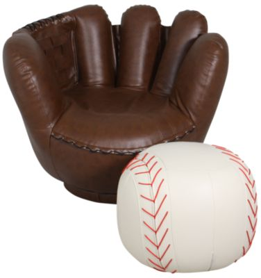 Beau Crown Mark Baseball Glove Chair U0026 Ottoman
