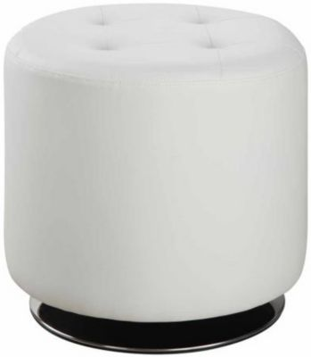 Coaster 500 Collection White Swivel Ottoman