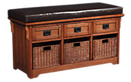 Coaster 5010 Collection Storage Bench with Baskets