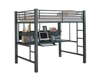 Coaster Full Metal Loft Bed with Desk