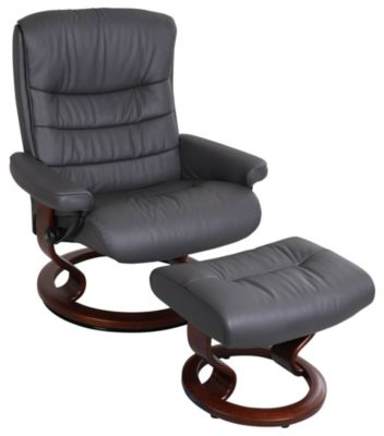 Ekornes Nordic Large 100% Leather Chair & Ottoman