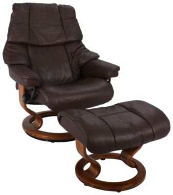 Ekornes Reno Medium 100% Leather Chair and Ottoman