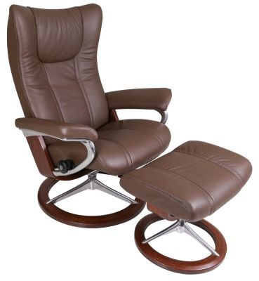 Ekornes Wing Medium 100% Leather Chair & Ottoman