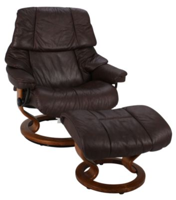 Ekornes Reno Large 100% Leather Chair & Ottoman