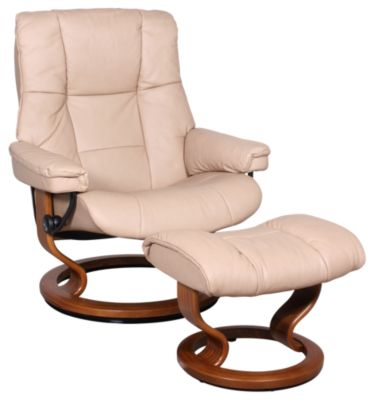 Ekornes Mayfair Large 100% Leather Chair & Ottoman