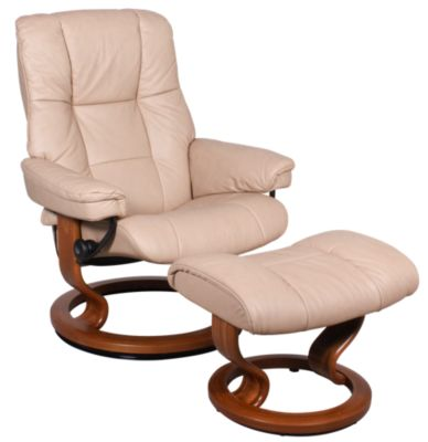 Ekornes Mayfair Medium 100% Leather Chair & Ottoman