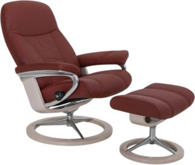 Ekornes Consul Medium 100% Leather Chair & Ottoman