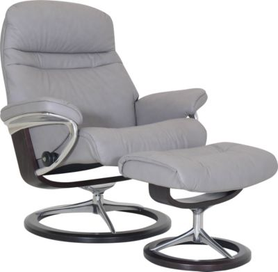 Ekornes Sunrise 100% Leather Chair & Ottoman