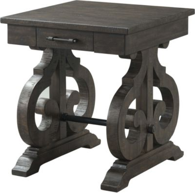 Elements International Group Stone Square End Table