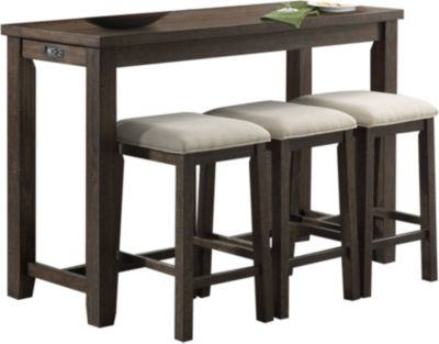 Elements International Group Stone Console Table with 3 Stools
